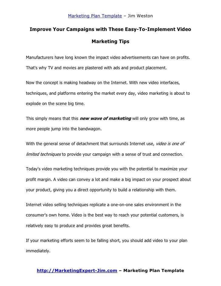 Online Video Marketing Plan Template