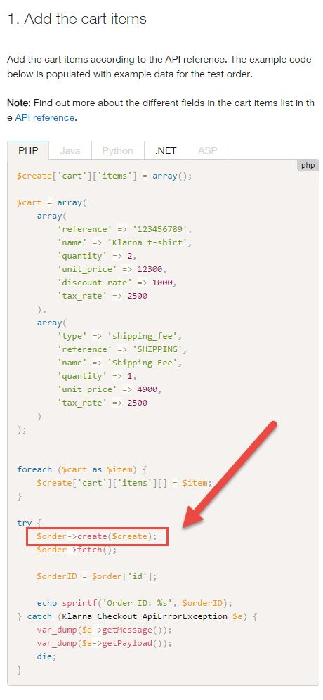 Klarna] The PHP example from the «Embed the Checkout» instruction ...