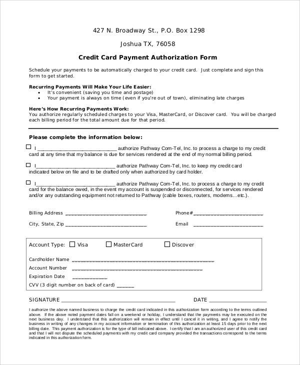 Credit Card Release Form Authorization For Credit Card Use Free