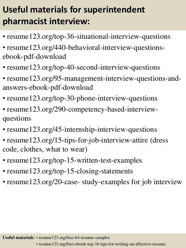 Top 8 superintendent pharmacist resume samples