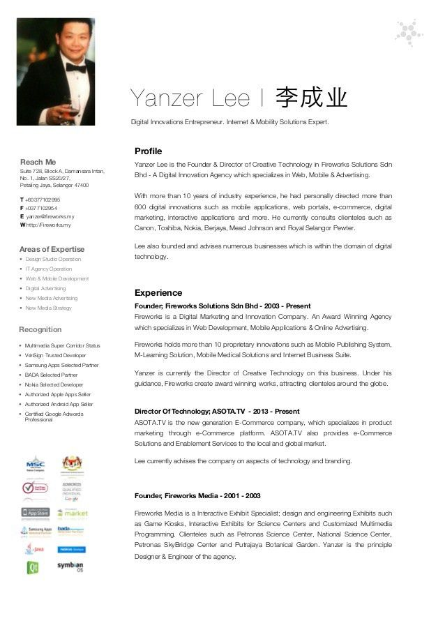 Resume of Yanzer Lee, CEO of Fireworks Solutions Sdn Bhd 2013