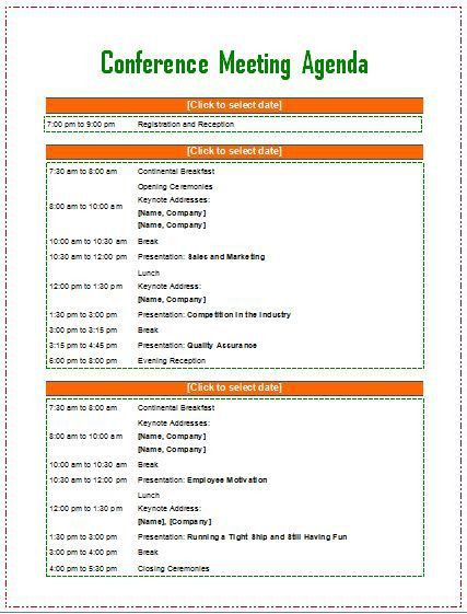 Meeting agenda template from Word Templates Online | Business ...