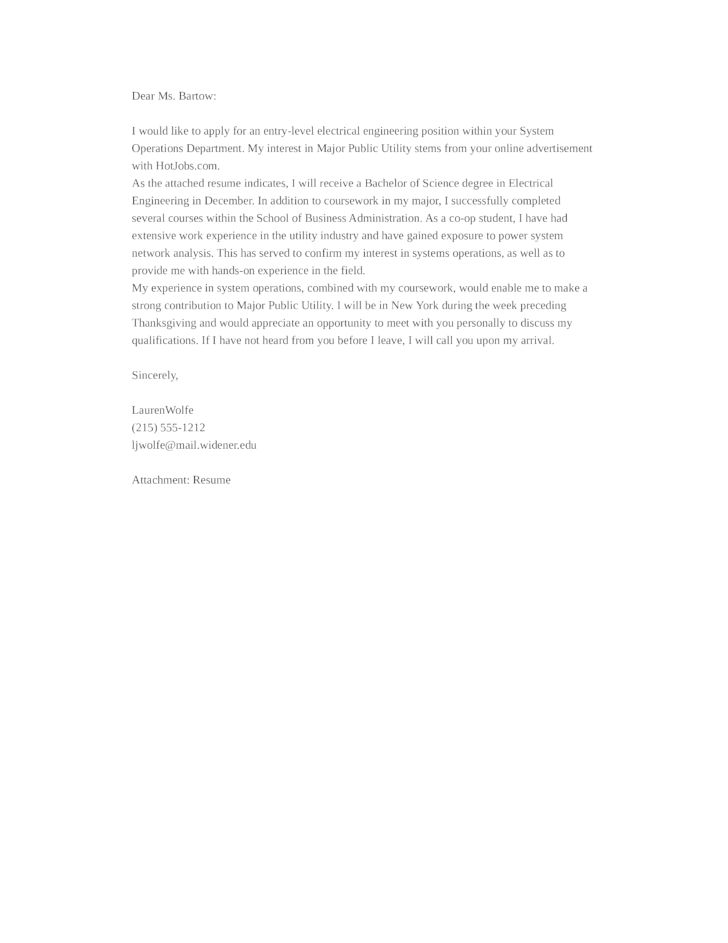 Entry-Level Electrical Engineering Cover Letter Samples and Templates