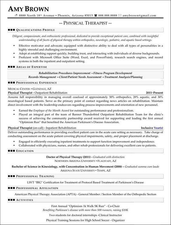 resume for physical therapist with physical therapist resume ...