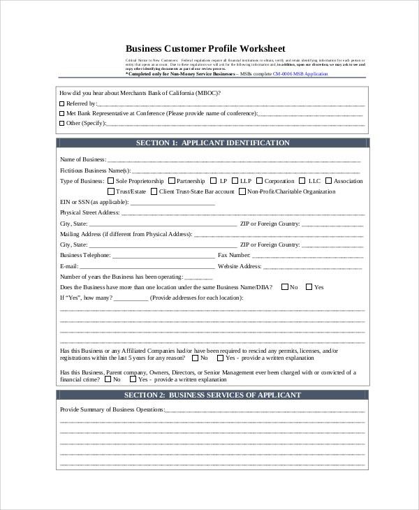 Sample Customer Profile - 8+ Examples in PDF