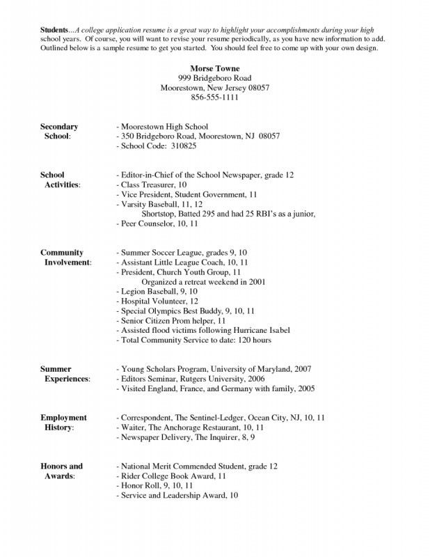 Resume Template For College Application | Samples Of Resumes