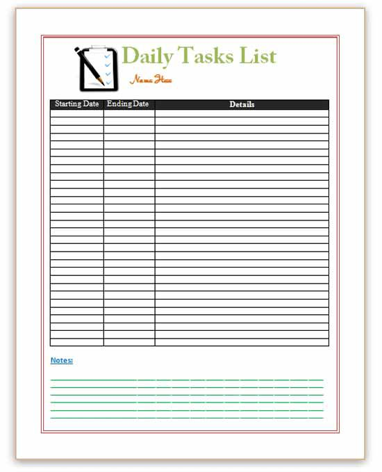 Task List Templates Archives - Save Word Templates