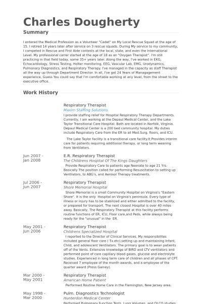 Respiratory Therapist Resume | The Best Resume