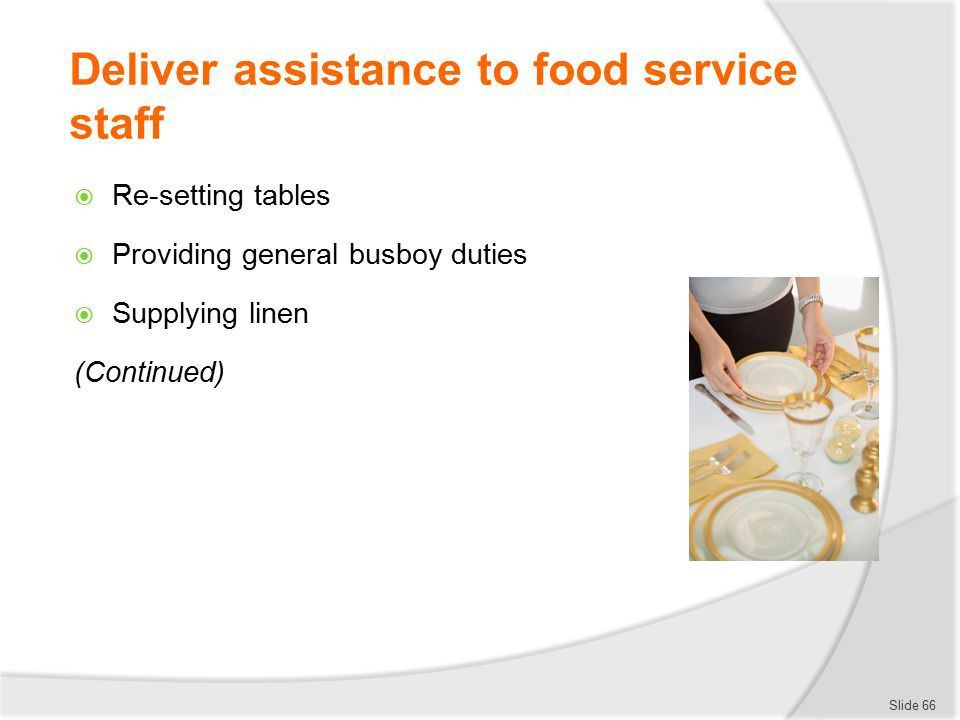 CLEAN AND TIDY BEVERAGE AND FOOD SERVICE AREAS - ppt download