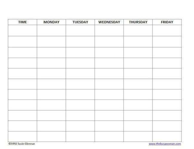 Free Homeschool Schedule Blank 5 day schedule template by Susie ...