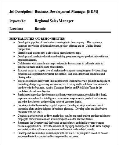 Sample Business Development Manager Job Description - 9+ Examples ...