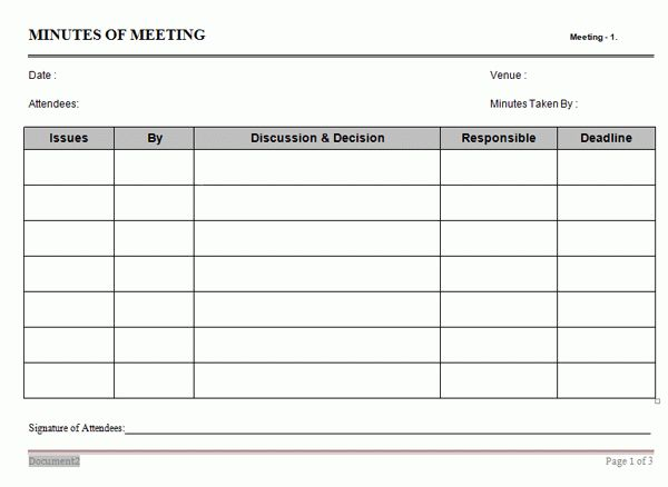 Action Oriented Minutes of Meeting Template