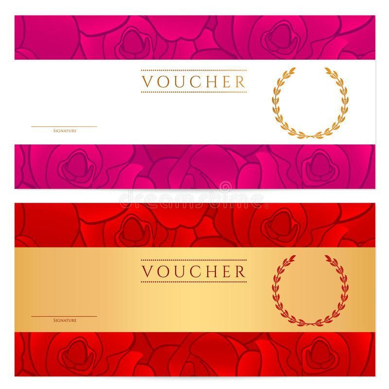 Voucher (Gift Certificate, Coupon) Template. Rose Royalty Free ...