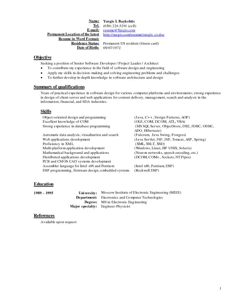 Peaceful Design Current Resume 6 Current Resume Formats Examples ...