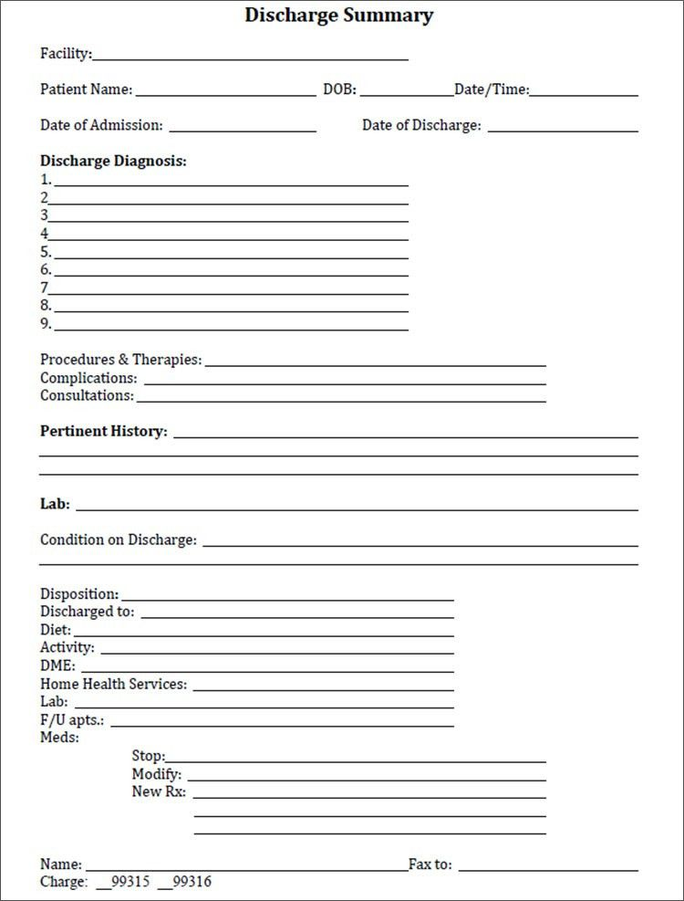 Discharge Summary Template in PDF, Word, Excel format | Creative ...