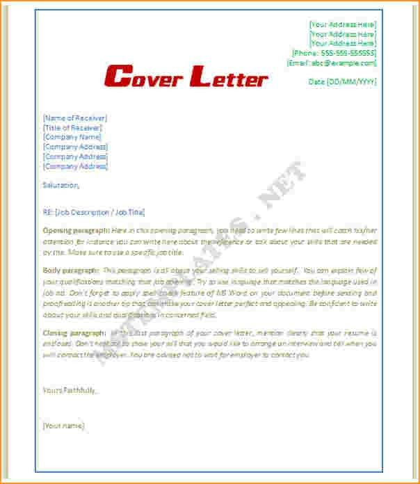 Free Cover Letter Templates For Word