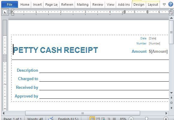 Petty Cash Receipt Form for Word