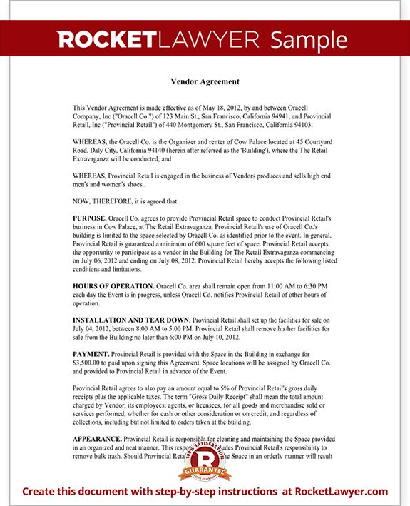 Vendor Contract Template - Create a Vendor Agreement (with Sample)