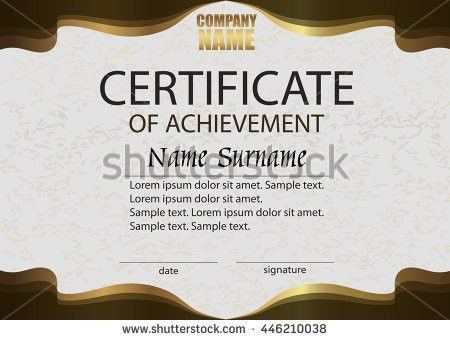 Certificate Achievement Reward Winning Competition Award Stock ...