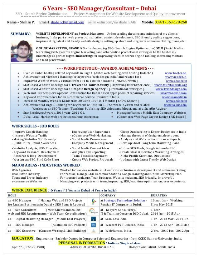 SEO Manager Resume