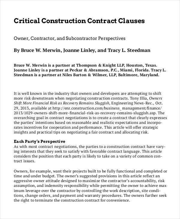 Construction Contract Template - 6+ Free Word, PDF Documents ...