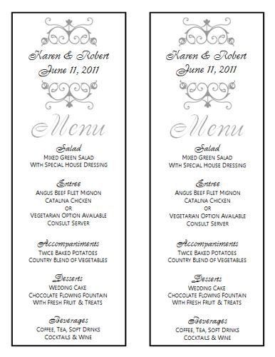 Wedding Menu Template - Wedding Menu Template 8
