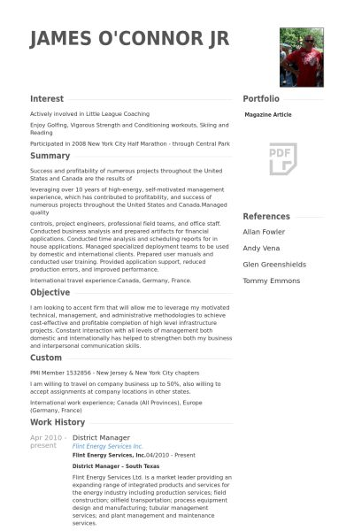 District Manager Resume samples - VisualCV resume samples database