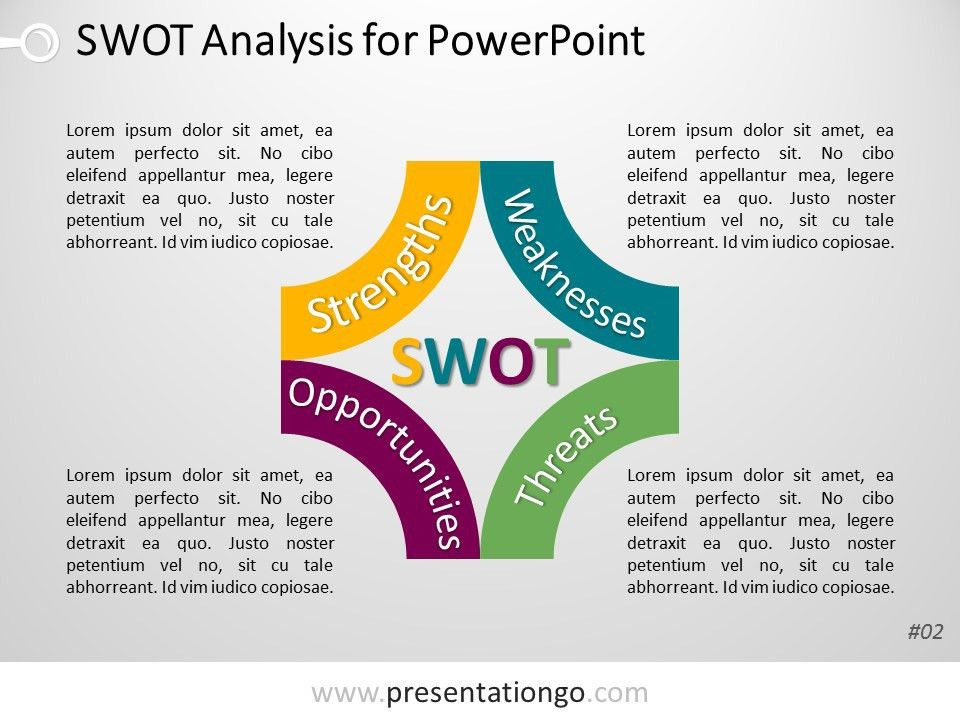 Free PowerPoint SWOT Analysis with Block Arcs | PowerPoint ...