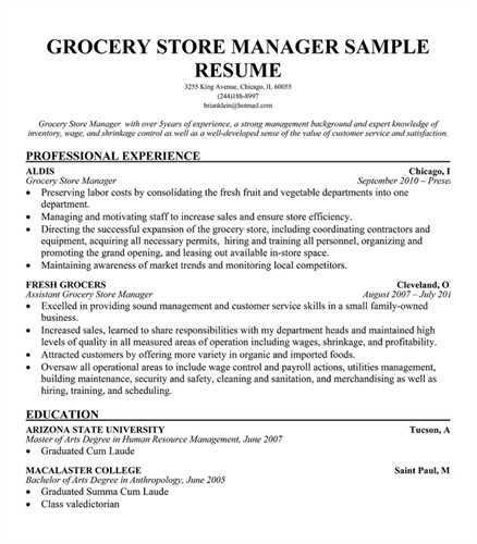Grocery Manager Resume Store Department