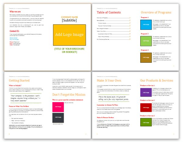 Booklet Template | Save Word Templates