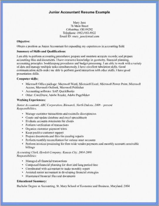 junior accountant resume junior accountant resume samples