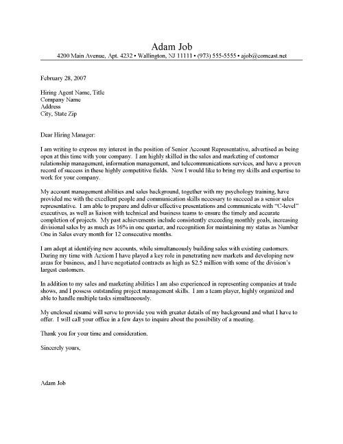 sample sales and marketing letter. good cover letter for marketing ...