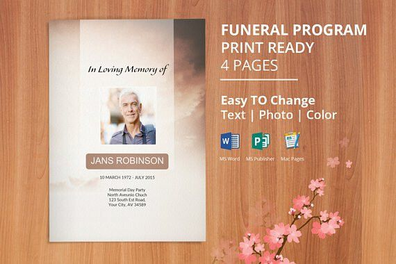 Printable Funeral Program Template Obituary Template | Funeral ...