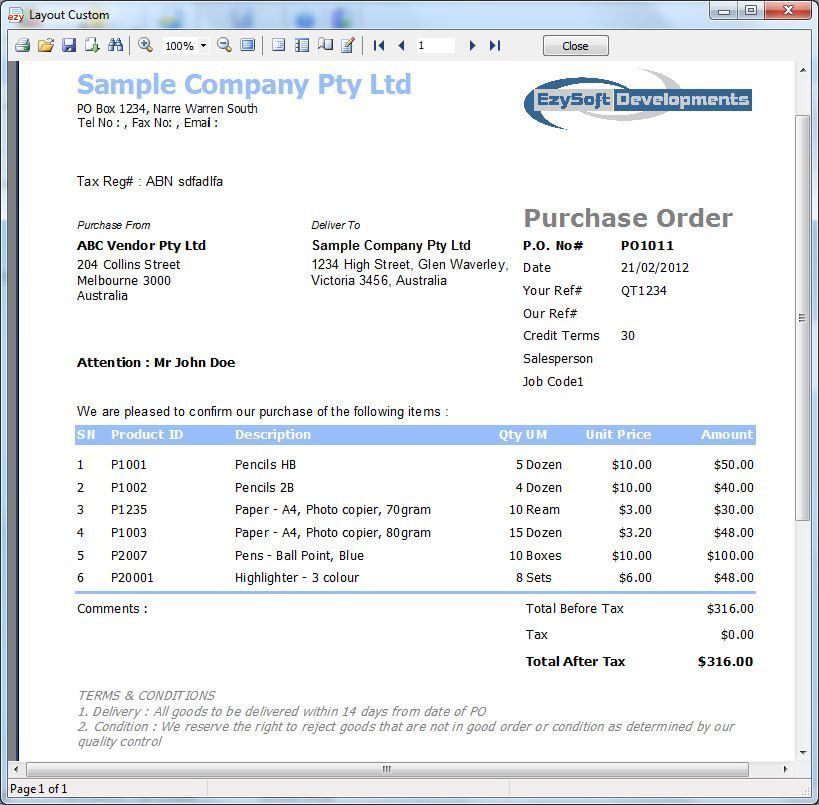 Sample Purchase Order - What is it, how to prepare it , view samples