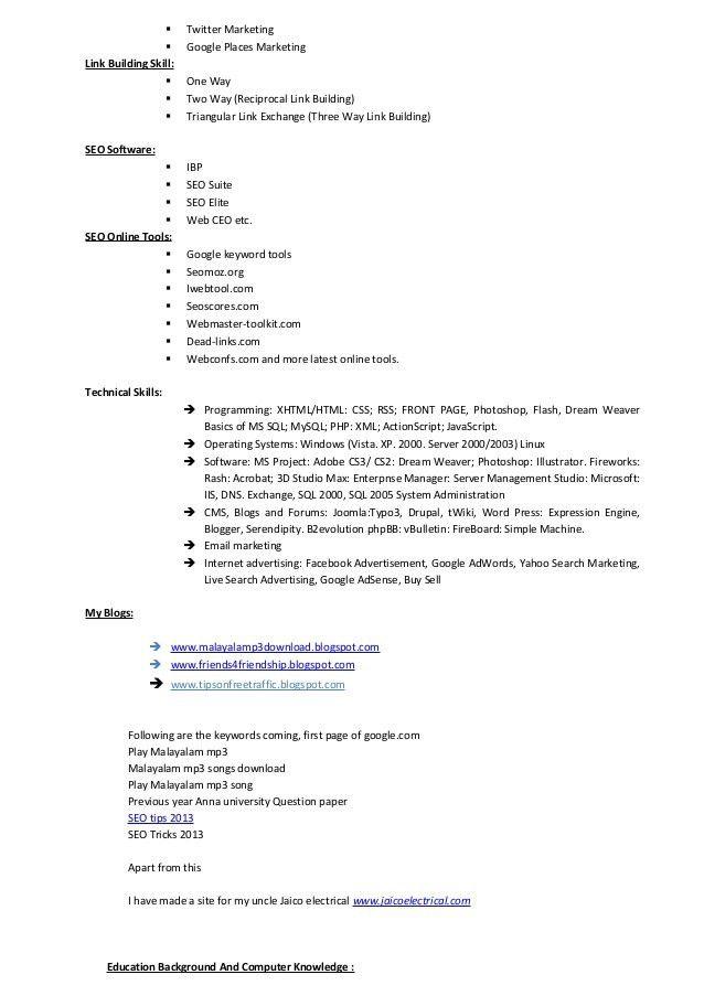 Seo web analyst resume tinils resume new copy