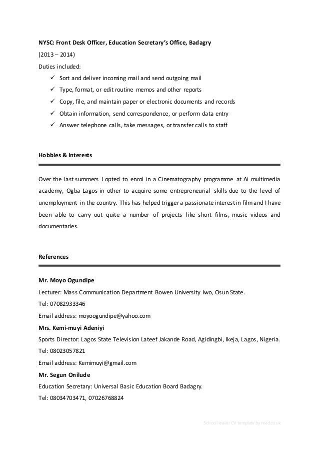 Cv Personal Statement Examples For School Leavers | How To Write ...