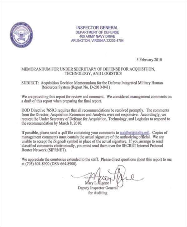 Army Memorandum Templates | Free & Premium Templates