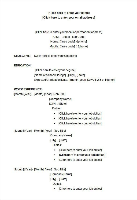 College Student Resume Templates Microsoft Word - Resume Example