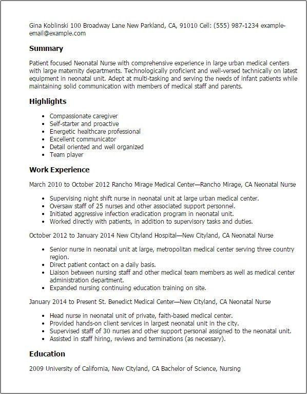 Neonatal Nurse Resume - The Best Of Magic Resume