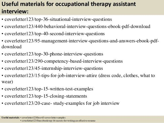 Occupational Health Therapist Cover Letter