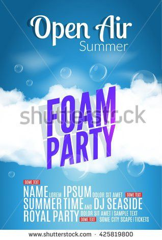 Foam Party Summer Open Air Beach Stock Vector 425819800 - Shutterstock