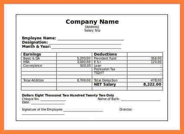 Beautiful Salary Slip Sample In Word Format Ideas - Best Resume ...