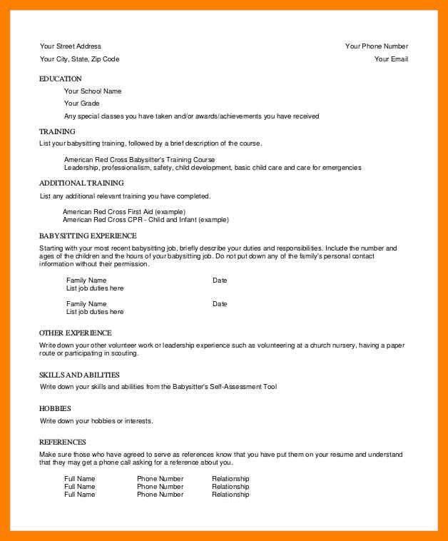 5+ babysitter resume | appraisal letter