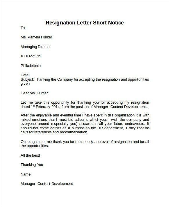 Resignation Letter Format: Best Ideas Short Notice Resignation ...