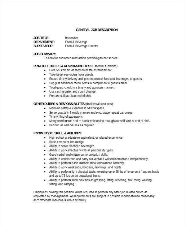 Bartender Job Description - 7+ Free PDF Format Download | Free ...