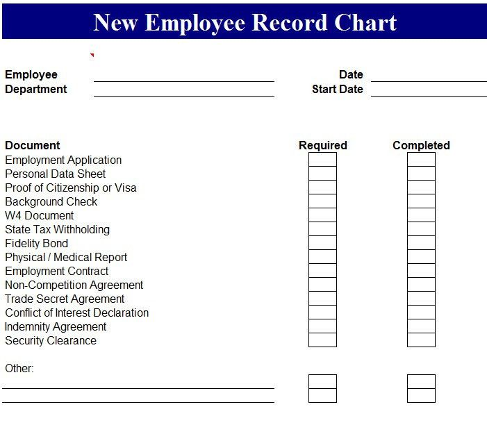New Employee Record Chart - My Excel Templates