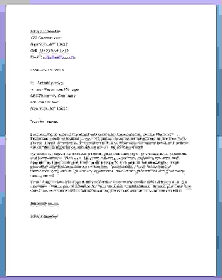Nice Inspiration Ideas Pharmacy Technician Cover Letter No ...