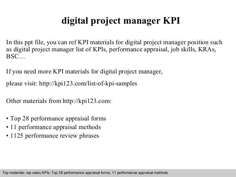 Digital project manager kpi