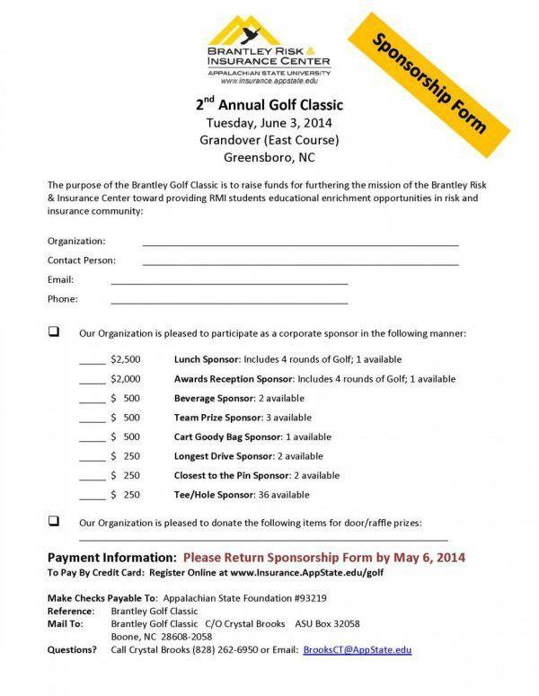 Golf Sponsorship Form | Walker College of Business Brantley Risk ...