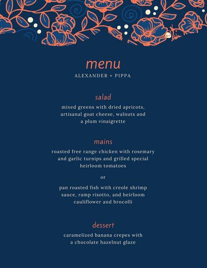 Blue and Orange Floral Pattern Dinner Party Menu - Templates by Canva